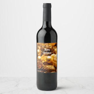 Étiquette Pour Bouteilles De Vin Bouteille d'étiquette avec la décoration de Noël