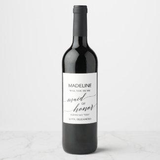 Étiquette Pour Bouteilles De Vin Calligraphie élégante vous serez ma domestique