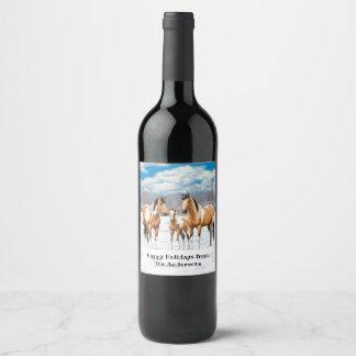 Étiquette Pour Bouteilles De Vin Chevaux de peinture de peau de daim dans la neige