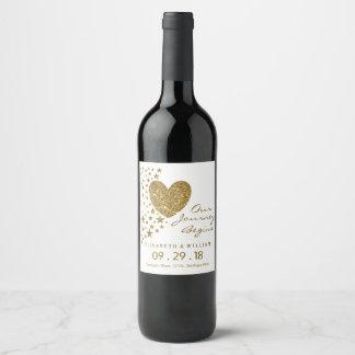 Étiquette Pour Bouteilles De Vin Coeur de scintillement d'or et épouser d'étoiles