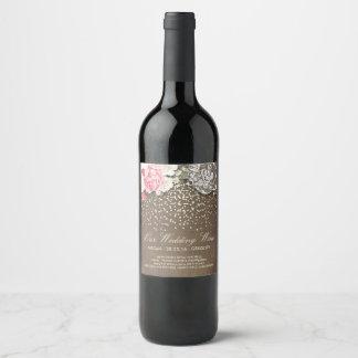 Étiquette Pour Bouteilles De Vin Confettis et fleurs rustiques d'or de dentelle de