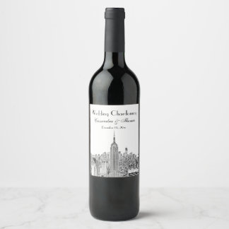 Étiquette Pour Bouteilles De Vin Dessus d'ESB d'horizon de NYC de l'étiquette de