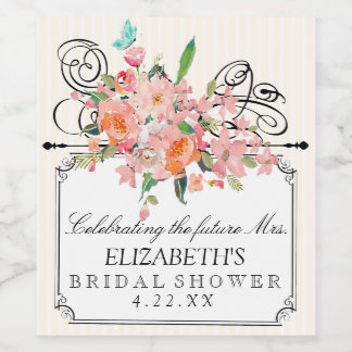 Étiquette Pour Bouteilles De Vin Fleurs d'aquarelle avec la douche nuptiale de