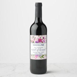 Étiquette Pour Bouteilles De Vin Jardin romantique vous serez ma domestique