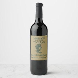 Étiquette Pour Bouteilles De Vin La Réunion de classe de Trojan quarantième d'or