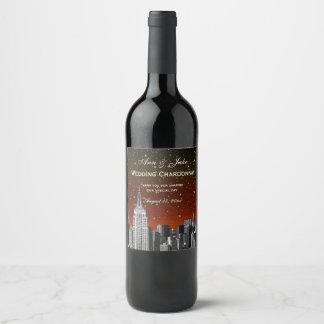 Étiquette Pour Bouteilles De Vin L'horizon de NYC a gravé à l'eau-forte #2 le
