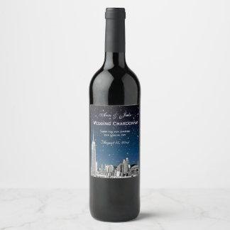 Étiquette Pour Bouteilles De Vin L'horizon de NYC a gravé à l'eau-forte le gradient