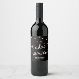 Étiquette Pour Bouteilles De Vin L'or rose et noircissent la douche nuptiale de