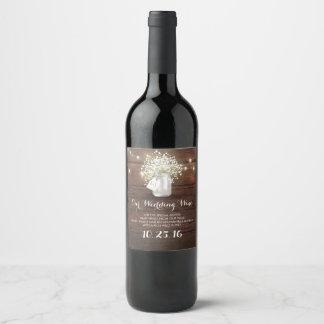 Étiquette Pour Bouteilles De Vin Lumières de pot de maçon et grange rustiques du