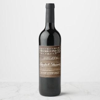 Étiquette Pour Bouteilles De Vin Lumières en bois rustiques de ficelle