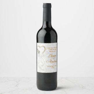 Étiquette Pour Bouteilles De Vin Marguerite romantique, coeur d'or et ruban blanc