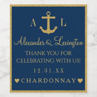 Étiquette Pour Bouteilles De Vin Mariage de monogramme d'ancre de bleu marine d'or