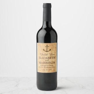 Étiquette Pour Bouteilles De Vin Mariage de papier vintage encadré par ancre