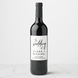 Étiquette Pour Bouteilles De Vin Mariage lunatique de calligraphie