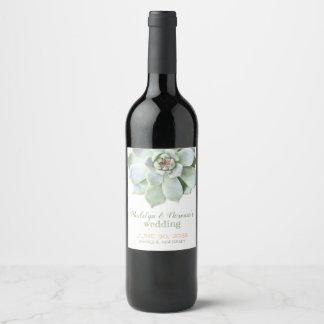 Étiquette Pour Bouteilles De Vin Mariage succulent à la mode de jardin