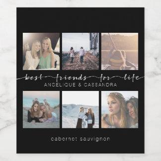 Étiquette Pour Bouteilles De Vin Meilleurs amis pour la photo d'Instagram de