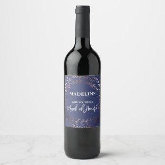 Étiquette Pour Bouteilles De Vin Or et marine roses vous serez ma domestique