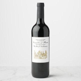 Étiquette Pour Bouteilles De Vin Or héraldique vintage de Faux de crête du château