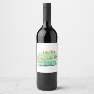 Étiquette Pour Bouteilles De Vin Or vert Artsy d'aquarelle de Joyeux Noël