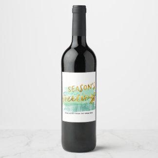 Étiquette Pour Bouteilles De Vin Or vert d'aquarelle de Bonnes Fêtes