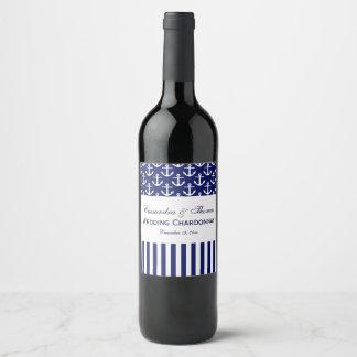 Étiquette Pour Bouteilles De Vin Partie blanche de rayure d'ancre de marine de