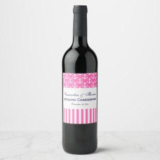 Étiquette Pour Bouteilles De Vin Partie blanche de rayure d'ancre de roses indien