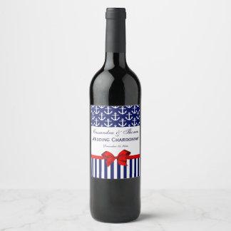Étiquette Pour Bouteilles De Vin Partie rouge blanche d'arc de la rayure #2 d'ancre