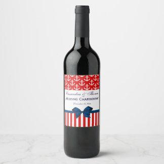Étiquette Pour Bouteilles De Vin Partie rouge d'arc de bleu marine de la rayure #2