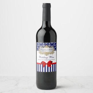 Étiquette Pour Bouteilles De Vin Partie rouge d'arc de rayure blanche d'ancre de