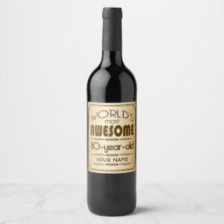 Étiquette Pour Bouteilles De Vin Quatre-vingtième monde de célébration