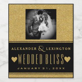Étiquette Pour Bouteilles De Vin Scintillement d'or de photographie et mariage
