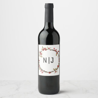 Étiquette Pour Bouteilles De Vin Vin rustique de guirlande de vacances de baies de