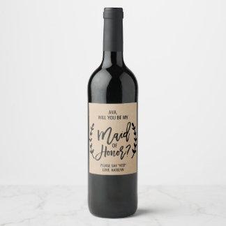 Étiquette Pour Bouteilles De Vin Volonté chic rustique vous soyez ma domestique