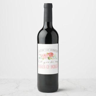 Étiquette Pour Bouteilles De Vin Vous serez ma dame de honneur