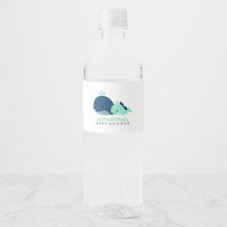 Étiquette Pour Bouteilles D'eau Baby shower de baleines de maman et de bébé