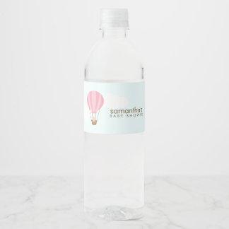 Étiquette Pour Bouteilles D'eau Bébé dans le ballon à air chaud rose