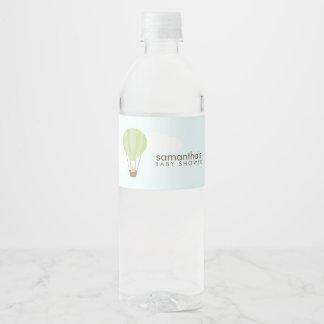 Étiquette Pour Bouteilles D'eau Bébé dans le ballon à air chaud vert