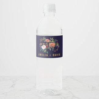 Étiquette Pour Bouteilles D'eau Mariage floral d'automne