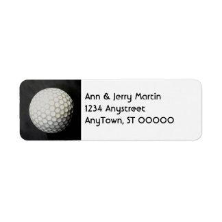 Étiquette pour la conception de retour de boule de golf