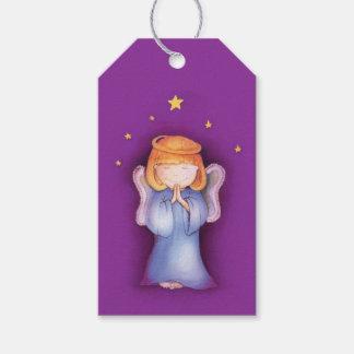 Étiquettes-cadeau Étiquette pourpre de cadeau d'ange de Noël d'art