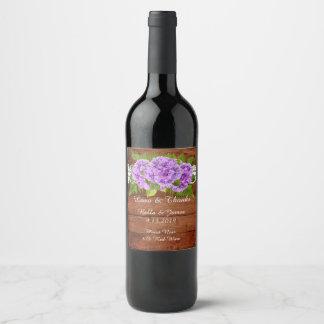Étiquette pourpre de vin de mariage d'hortensia de