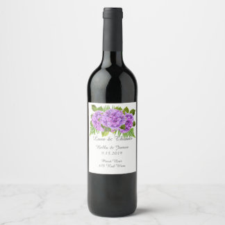 Étiquette pourpre élégant de vin de mariage