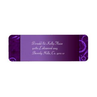 Étiquette Prune et remous pourpre de mariage de velours