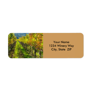 Étiquette Rangées des vignes dans Napa Valley la Californie