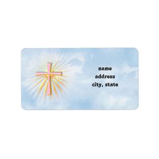 Étiquette Rayons de lumière de la croix religieuse
