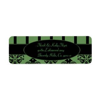 Étiquette Rayures de vert olive et de noir, le baroque de