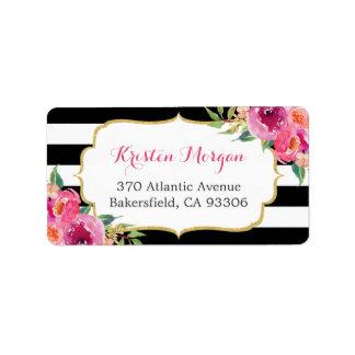 Étiquette Rayures florales fuchsia roses rouges pourpres