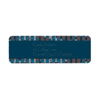 Étiquette Rayures minables en Brown et bleu