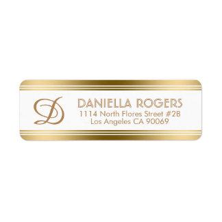 Étiquette Rayures modernes d'or avec le monogramme