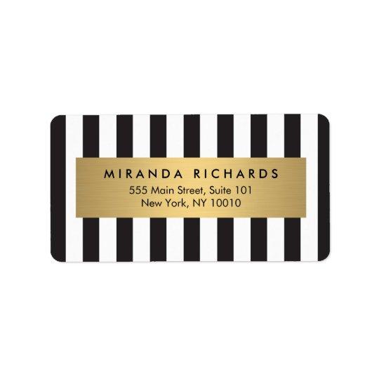 Étiquette Rayures noires et blanches audacieuses Luxe avec
